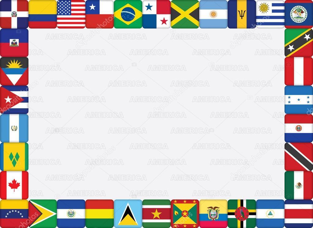 Bandera de los países americanos marco iconos — Vector de stock ...