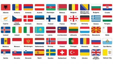 Set of European flags icons with rounded corners stock vector