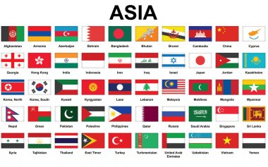 Icons with Asian countries flags