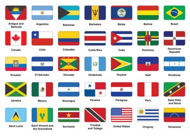 American countries flag icons