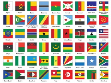 Square icons with African flags