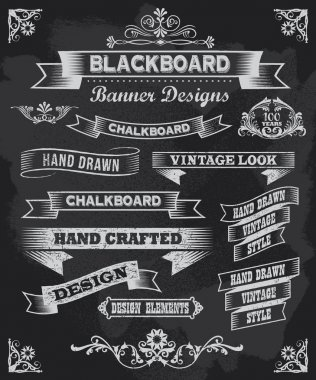 Hand drawn blackboard banner vector illustration with texture added stock vector