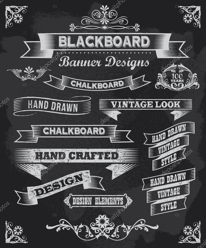 Chalkboard Designs Part - 46: Blackboard Chalkboard Design Elements U2014 Stock Vector