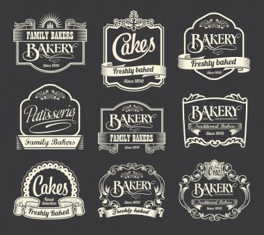 Vintage Calligraphy vector sign and label design set