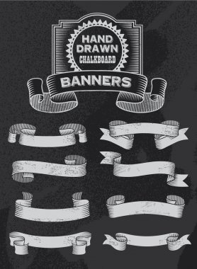 Chalkboard vintage hand drawn ribbons and banners