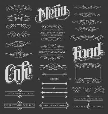 Chalkboard vintage calligraphy vector elements