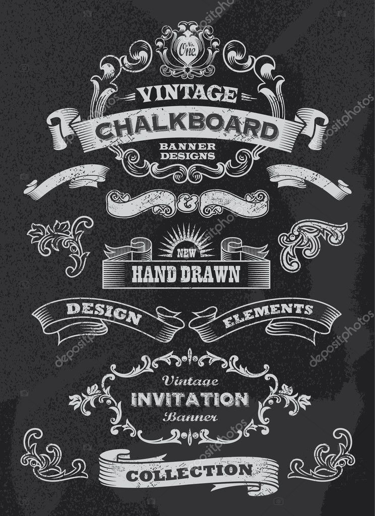 Blackboard chalkboard design elements stock vector for Blackboard design ideas