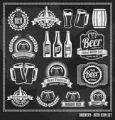Fényképek sör ikonkészlet chalkboard