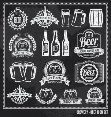Beer icon chalkboard set - labels, posters, signs, banners, vector design symbols. Removable background texture. stock vector
