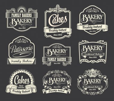 Calligraphic vector sign and label set. Bakery and cake label design elements