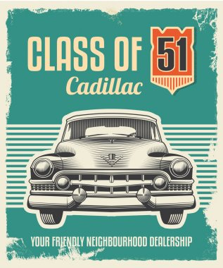Vintage metal sign - classic car poster