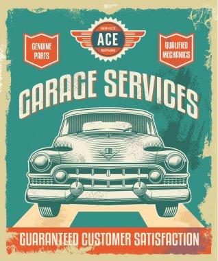 Vintage retro metal sign - Garage services poster