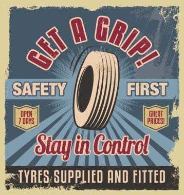 Vintage metal sign. Retro garage poster - car tyres