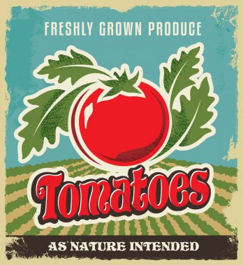 Retro tomato vintage advertising poster - Metal sign and label design