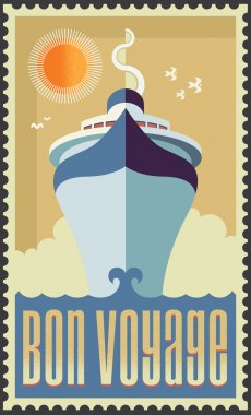 Vintage retro cruise ship - Holiday travel poster illustration