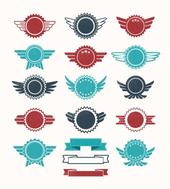 Set of retro vintage badge vector icon set