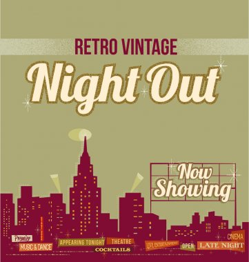 City nightlife - vintage retro design