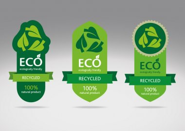 Ecological recycle labels - logo recycled vector icons