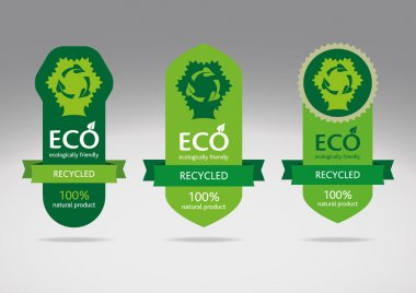Ecological recycle labels - logo vector recycled icons