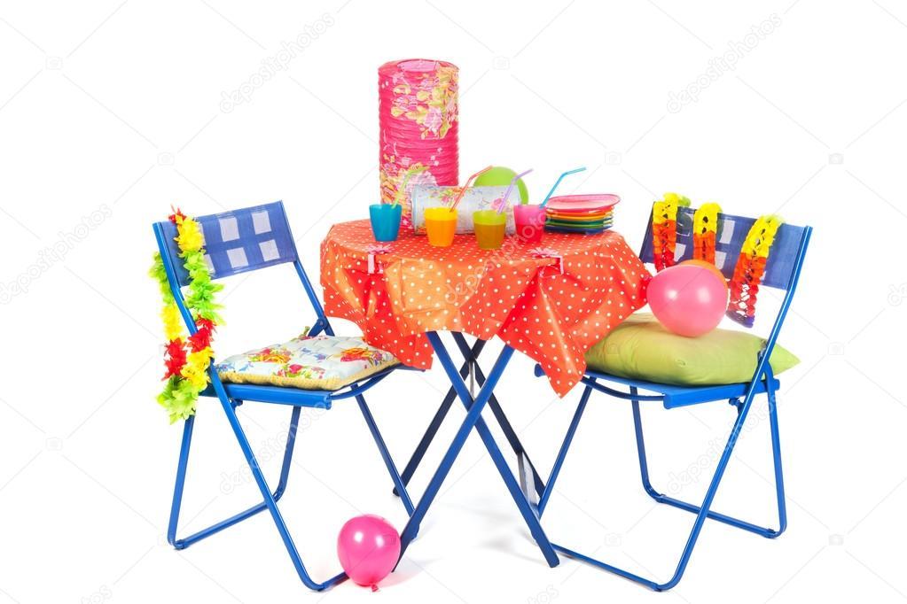 blaue Möbel mit Party Getränke — Stockfoto © ivonnewierink #18820303