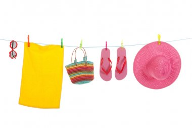 Beach laundry with towel and sunglasses