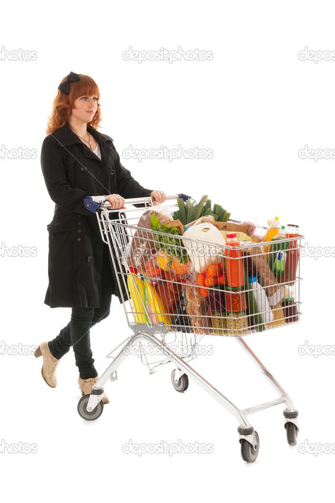 Mujer con compras carrito de supermercado completo l cteo - Carrito dela compra ...