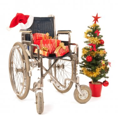 Empty wheelchair for Christmas party