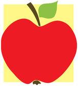 Fotografia mela rossa con sfondo giallo