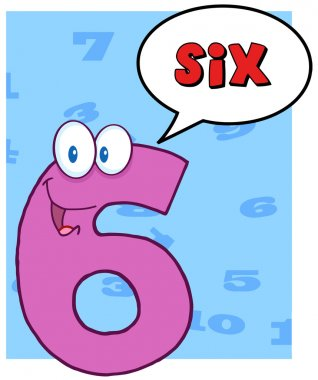 Number Six With Speech Bubble