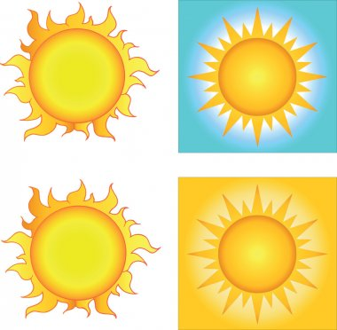 Illustration Of Different Yellow Sun Designs Cartoon Character stock vector