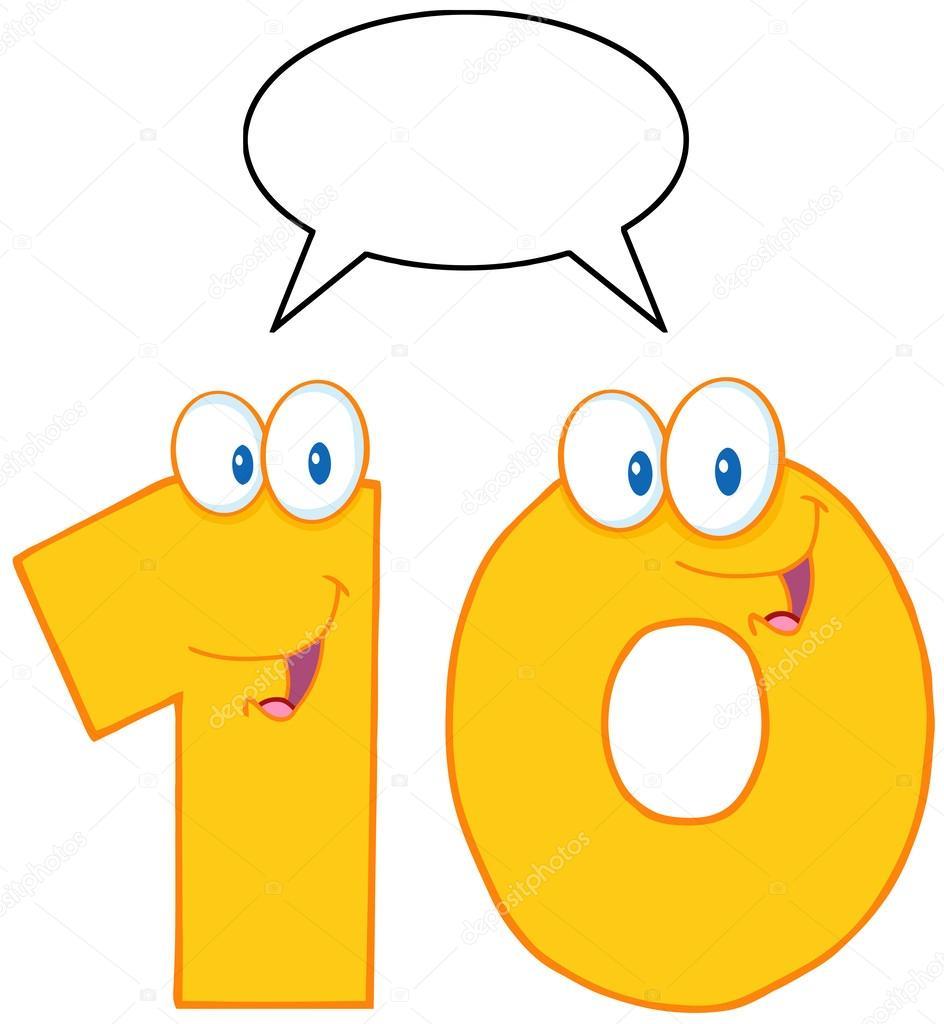 Imágenes Del Numero 10 Con Personaje Amarillo Número Diez Foto