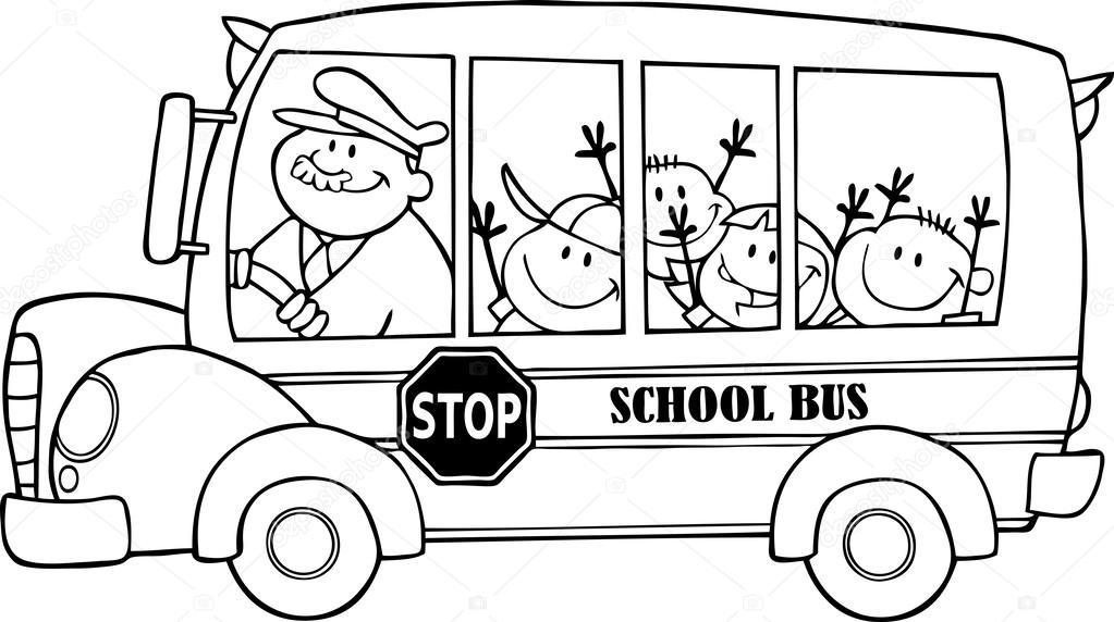 Imágenes: dibujo de autobus escolar | autobús escolar contorneado ...