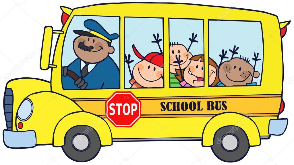 niños felices en autobús escolar — Fotos de Stock © HitToon #12492412