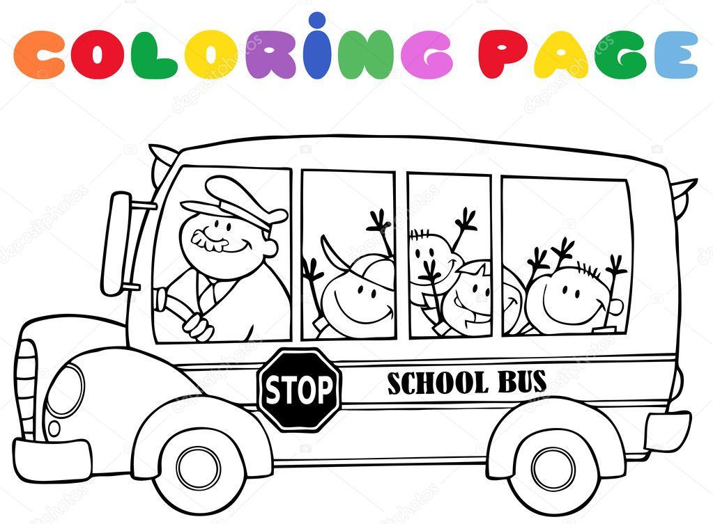 Sayfa Okul Otobüsü çocuklar Ile Boyama Stok Foto Hittoon 12492453