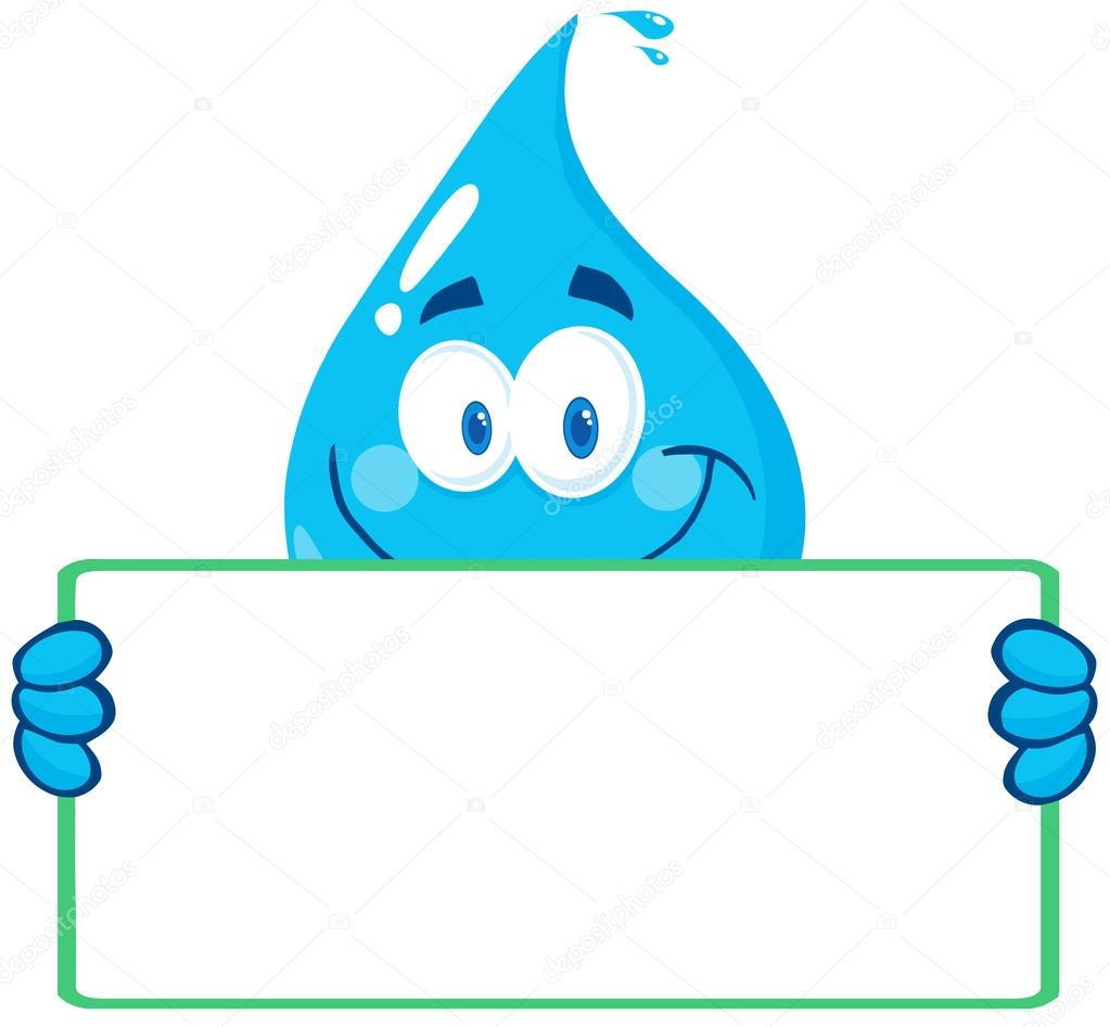 Water Drop Holding A Banner