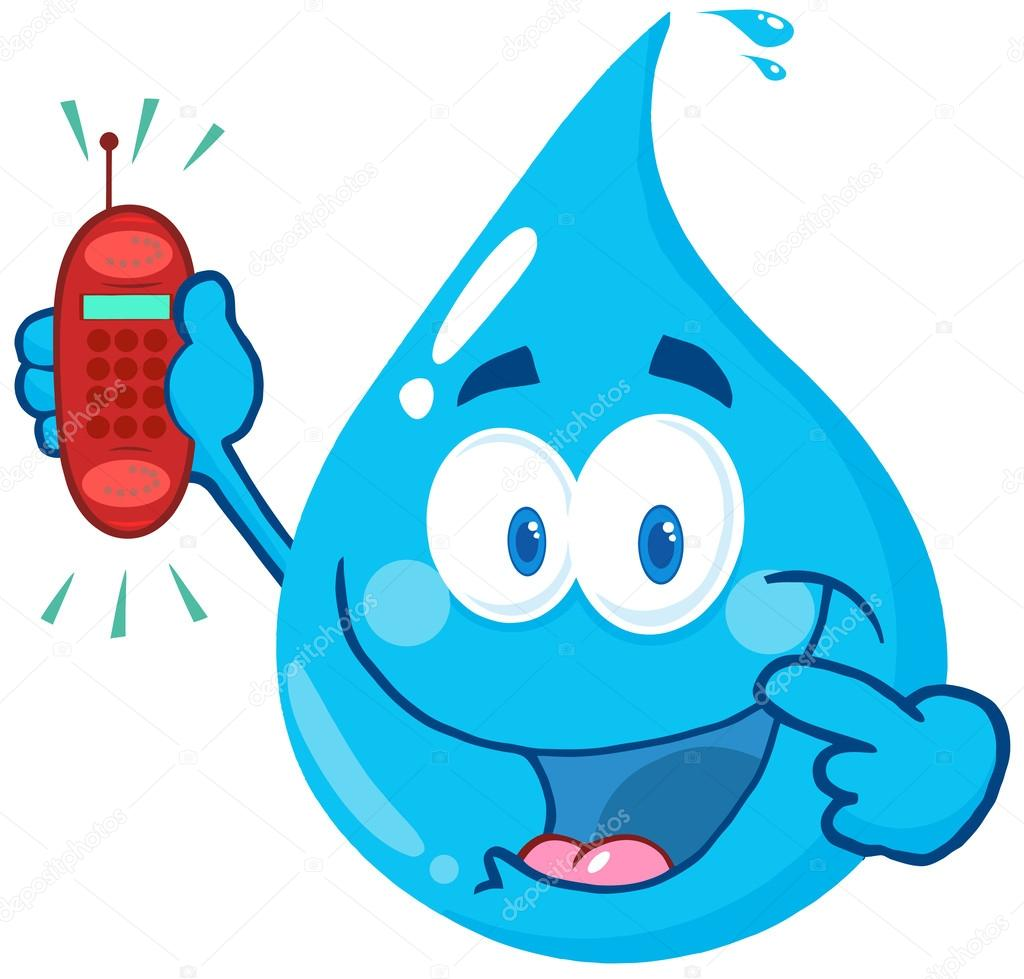 Water Drop Holding A Telephone