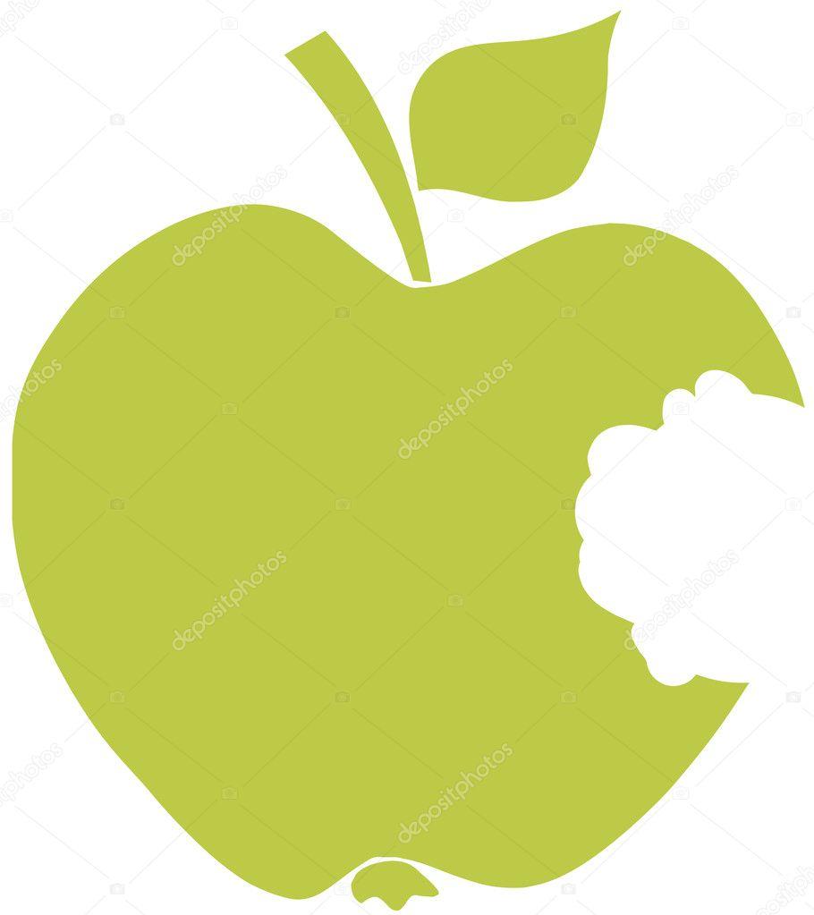 Bitten Apple Green Silhouette