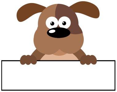 Cartoon Dog Over A Banner