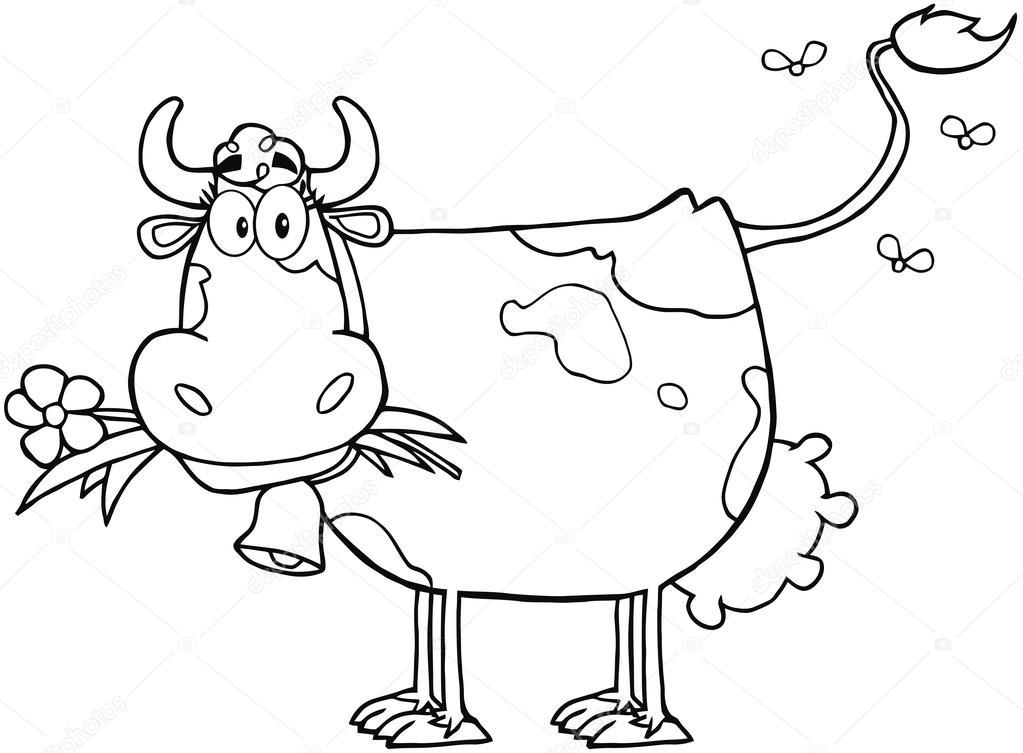 contorneado vaca lechera con flor en la boca — Foto de stock ...