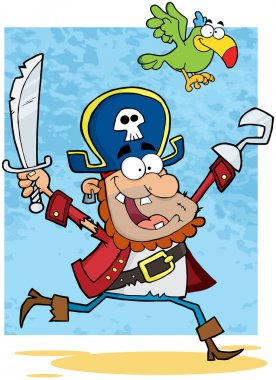 Pirate Holding Up A Sword And Hook With Parrot