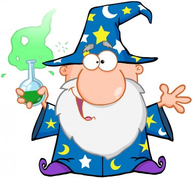 Crazy Wizard Holding A Green Magic Potion