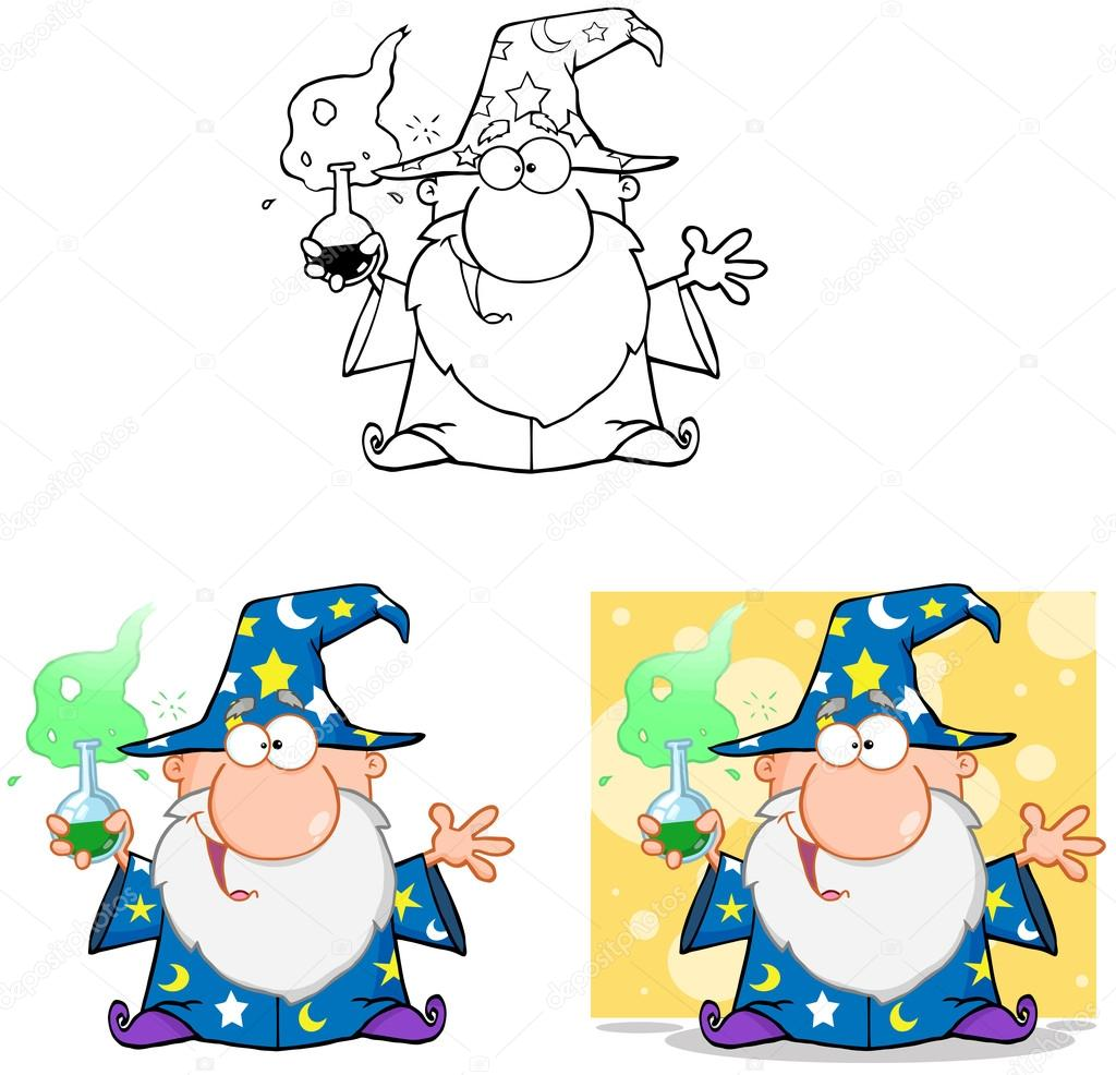 100 Pictures Cartoon Characters wizard cartoon characters. collection 6 — stock photo