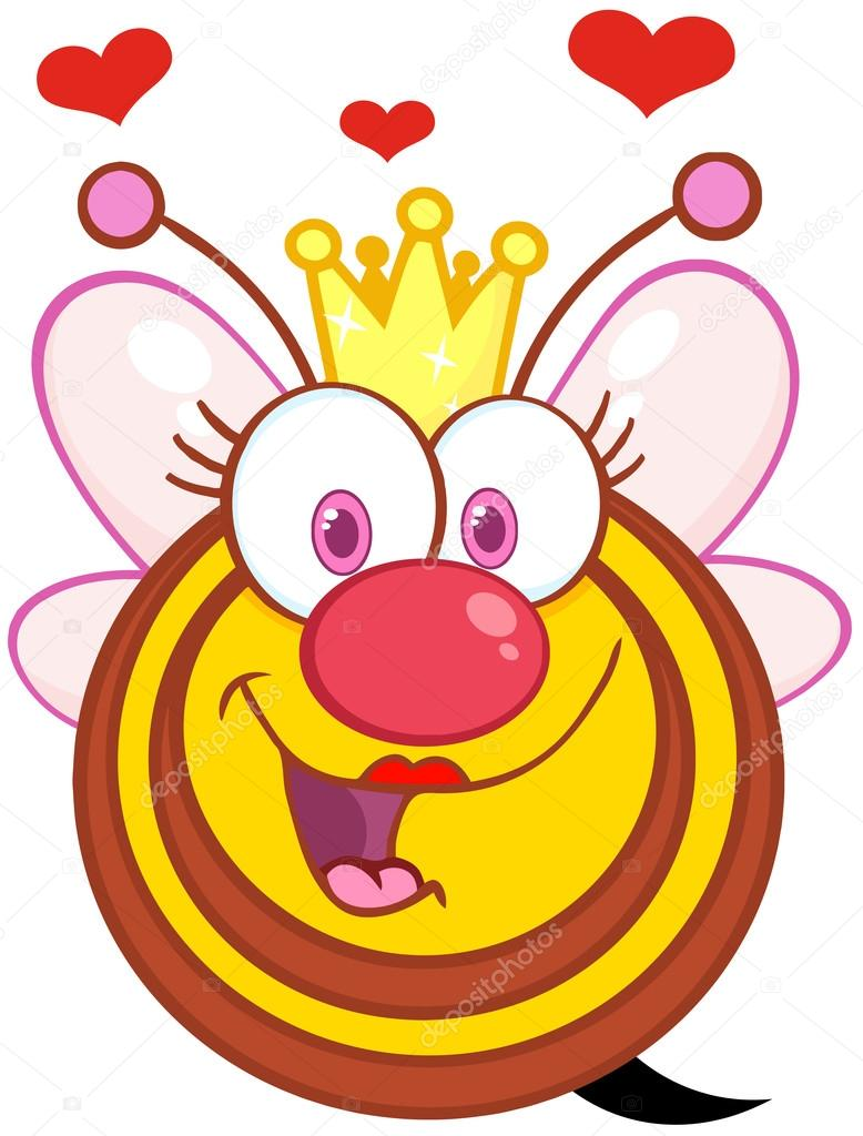 Queen Bee Cartoon Mascot Character With Hearts