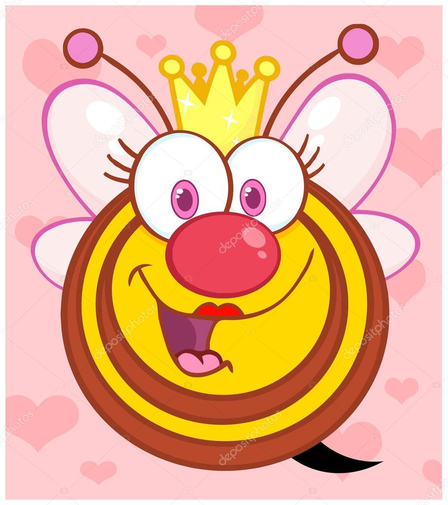 Queen Bee Over Background With Hearts