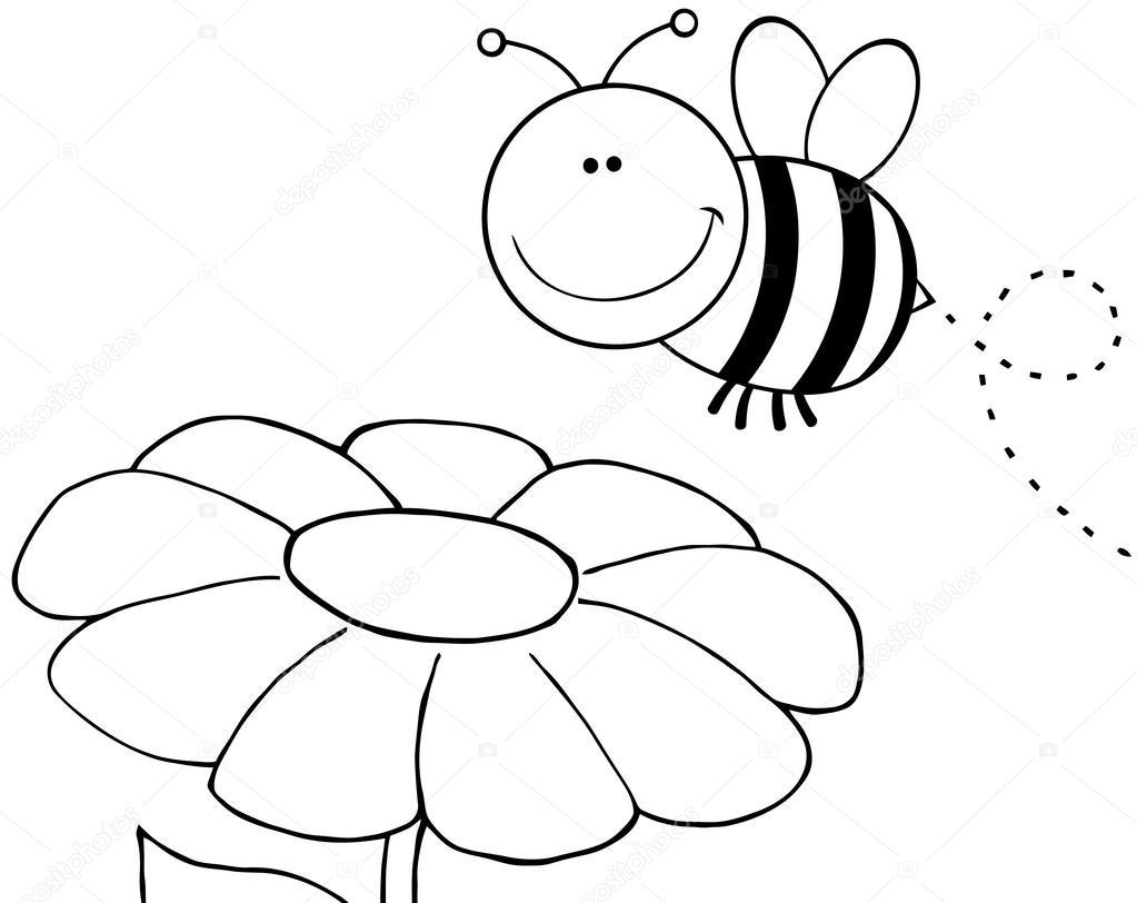 Dibujos Flores Y Abejas Contorneado Abeja Volando Sobre Flor