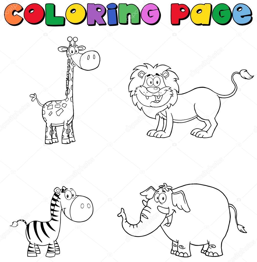 Amazing Jungle Animals Coloring Page U2014 Stock Photo
