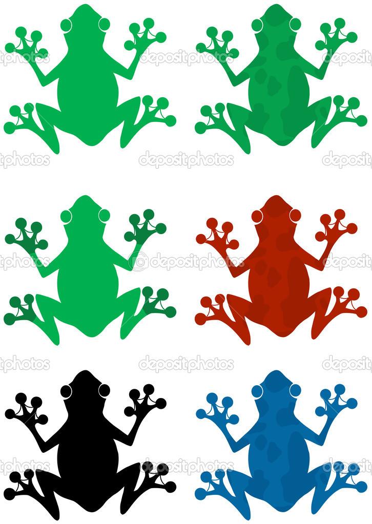 siluetas de rana de color diferente — Foto de stock © HitToon #26806989