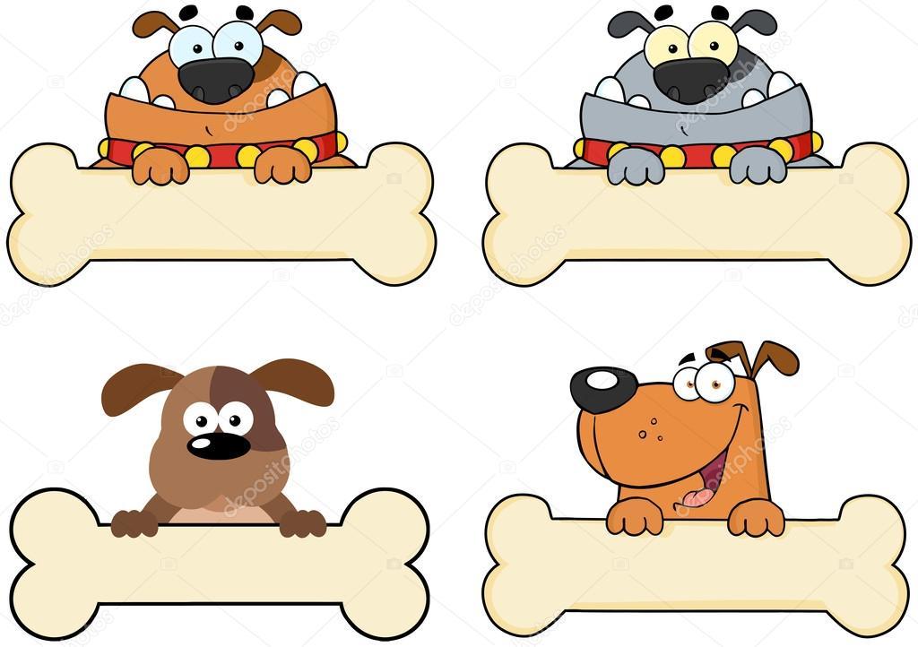 Cães Dos Desenhos Animados Sobre Um Banner De Osso