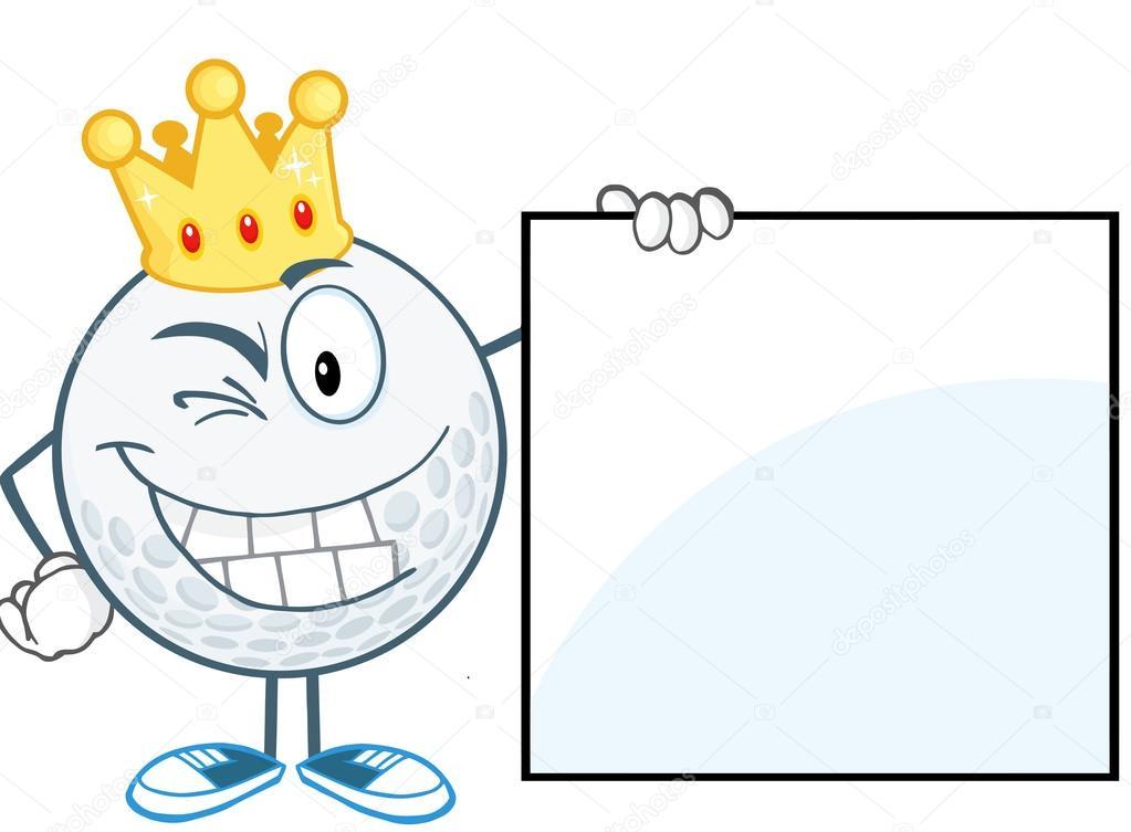 guiño la pelota de golf con corona de oro muestra un signo — Fotos ...