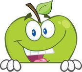 Fotografia mela verde nascondendosi dietro un segno vuoto